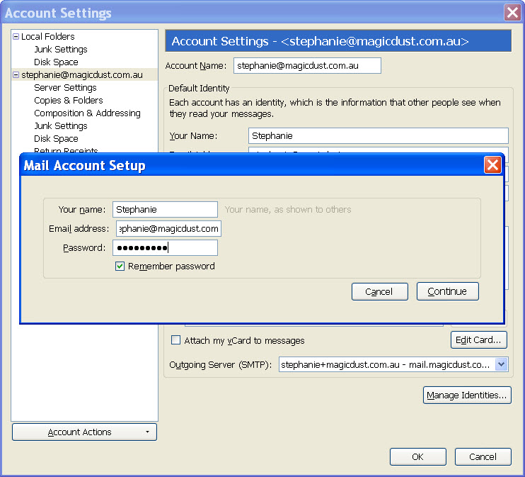 Setting up email in Mozilla Thunderbird (Version 3 0